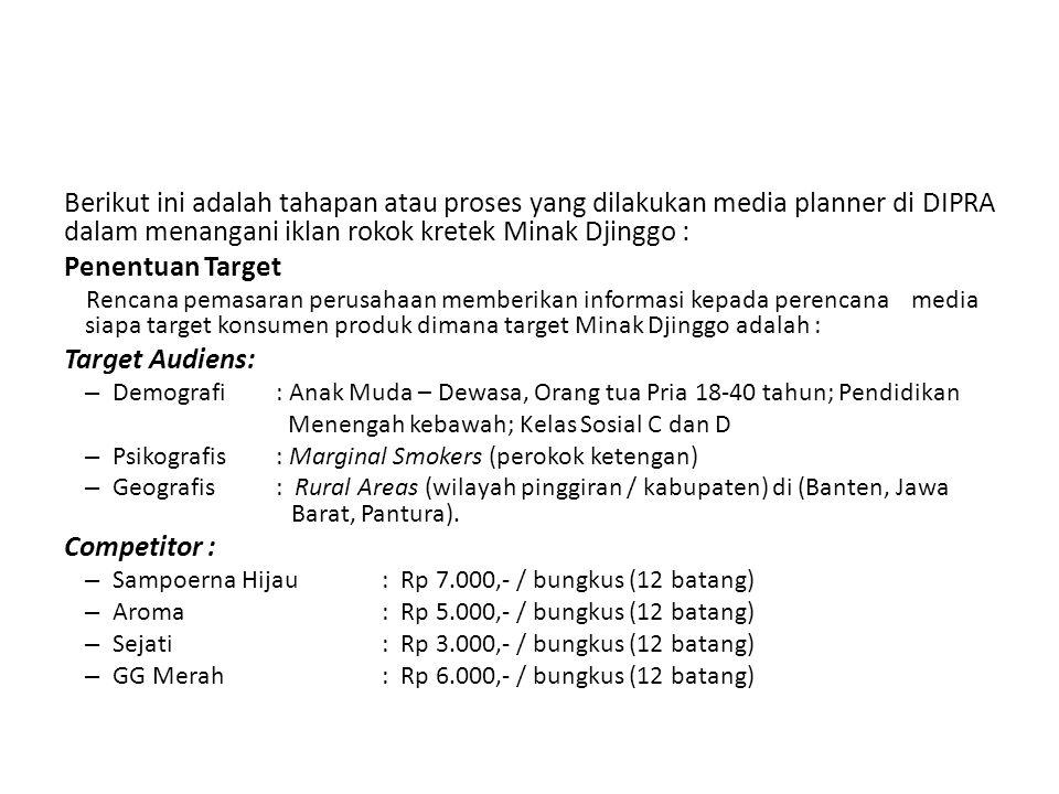 Berikut ini adalah tahapan atau proses yang dilakukan media planner di DIPRA dalam menangani iklan rokok kretek Minak Djinggo :
