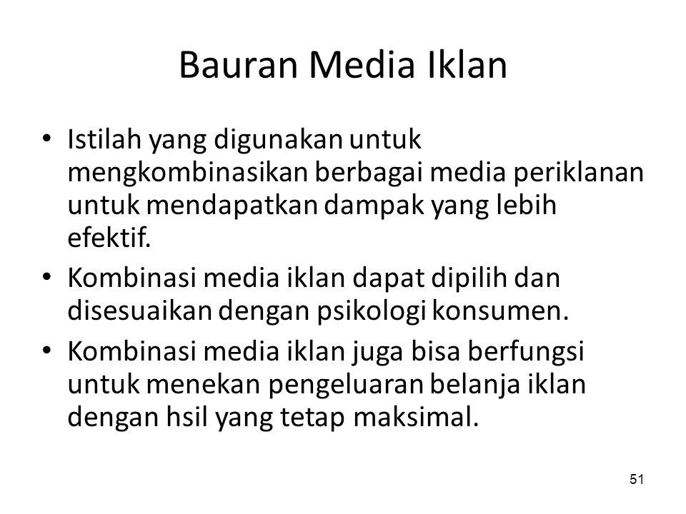 Bauran Media Iklan Istilah yang digunakan untuk mengkombinasikan berbagai media periklanan untuk mendapatkan dampak yang lebih efektif.