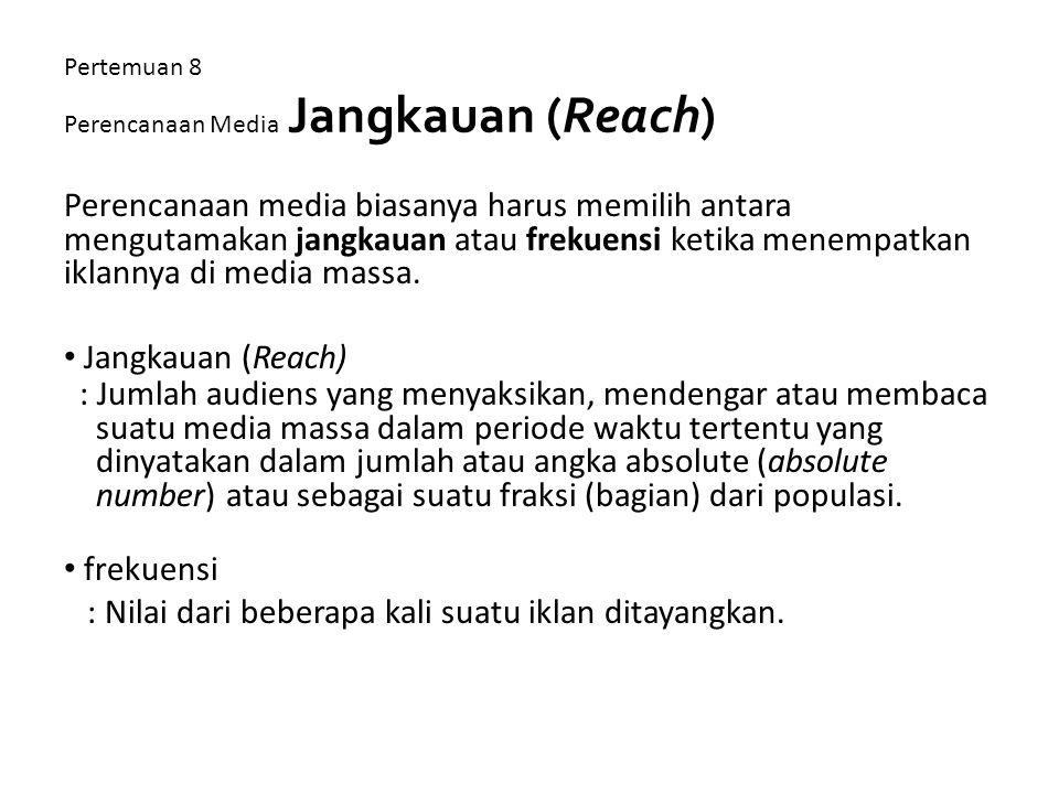 Pertemuan 8 Perencanaan Media Jangkauan (Reach)