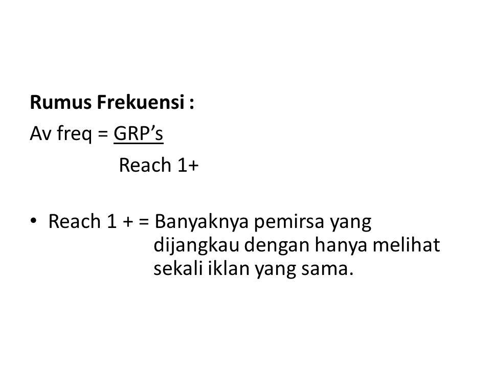 Rumus Frekuensi : Av freq = GRP's. Reach 1+ Reach 1 + = Banyaknya pemirsa yang. dijangkau dengan hanya melihat.