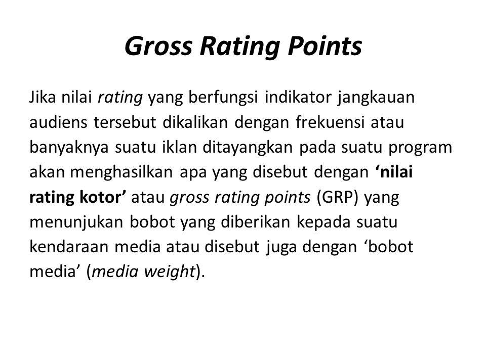 Gross Rating Points Jika nilai rating yang berfungsi indikator jangkauan. audiens tersebut dikalikan dengan frekuensi atau.