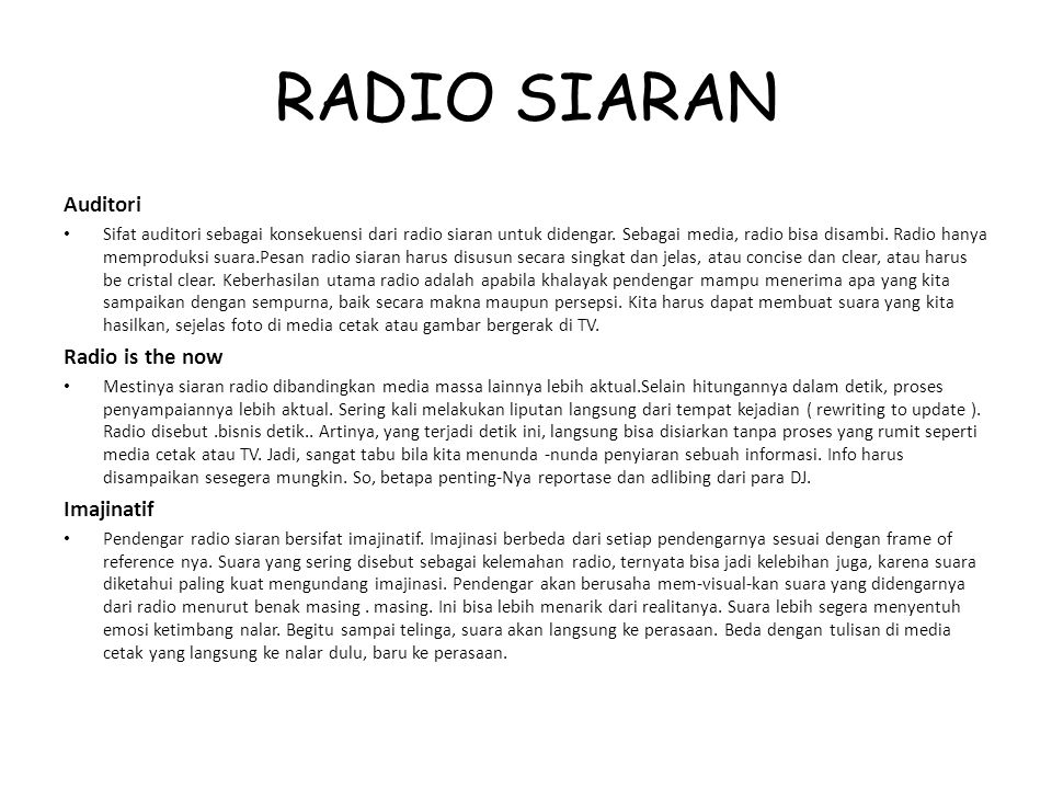 RADIO SIARAN Auditori Radio is the now Imajinatif
