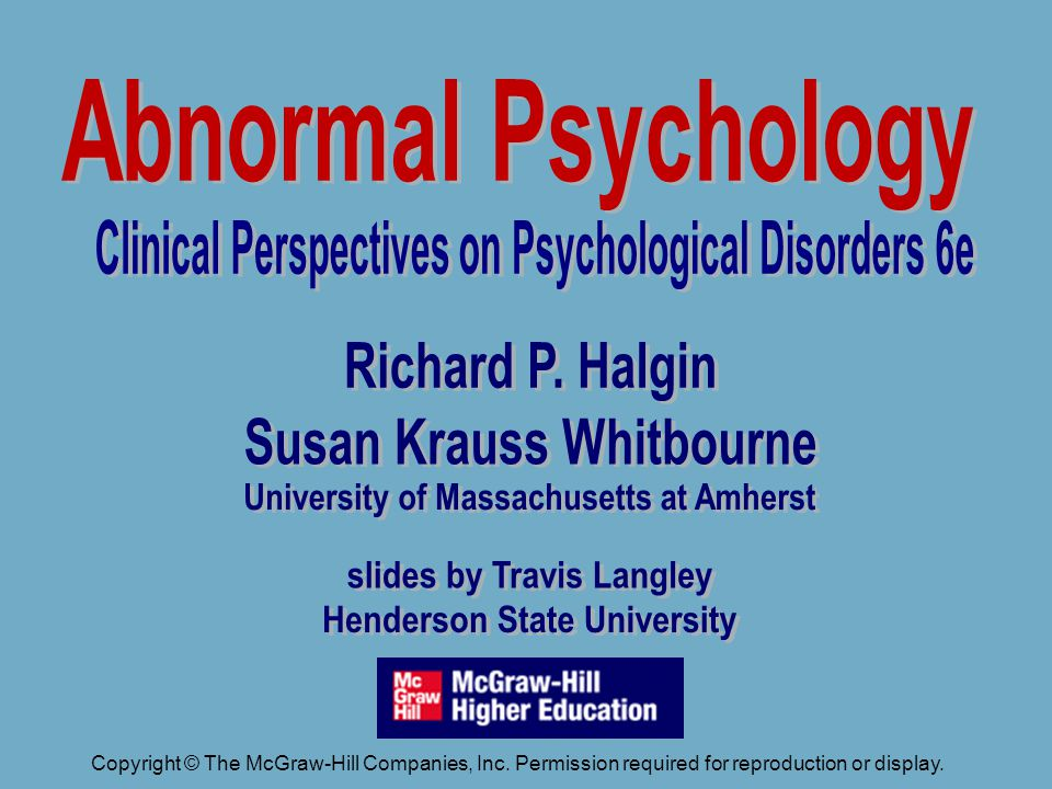 Abnormal Psychology Clinical Perspectives on Psychological Disorders 5e