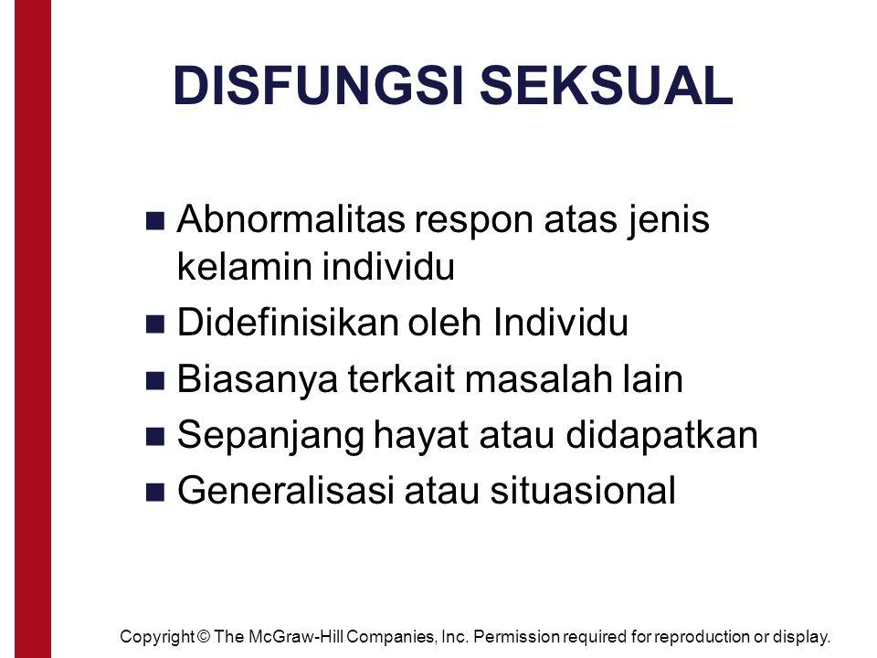 DISFUNGSI SEKSUAL Abnormalitas respon atas jenis kelamin individu