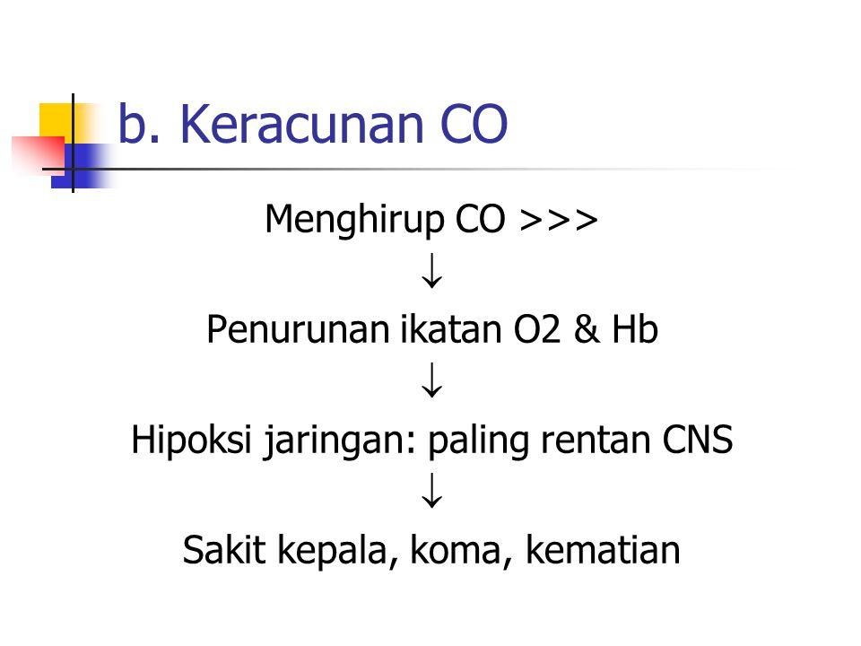 b. Keracunan CO Menghirup CO >>>  Penurunan ikatan O2 & Hb