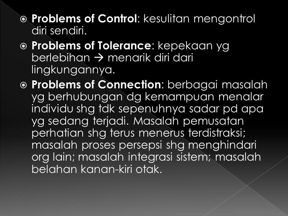 Problems of Control: kesulitan mengontrol diri sendiri.