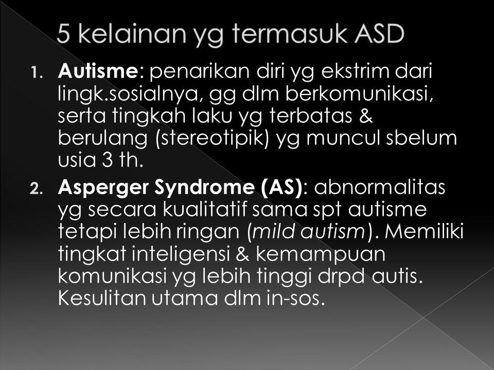 5 kelainan yg termasuk ASD
