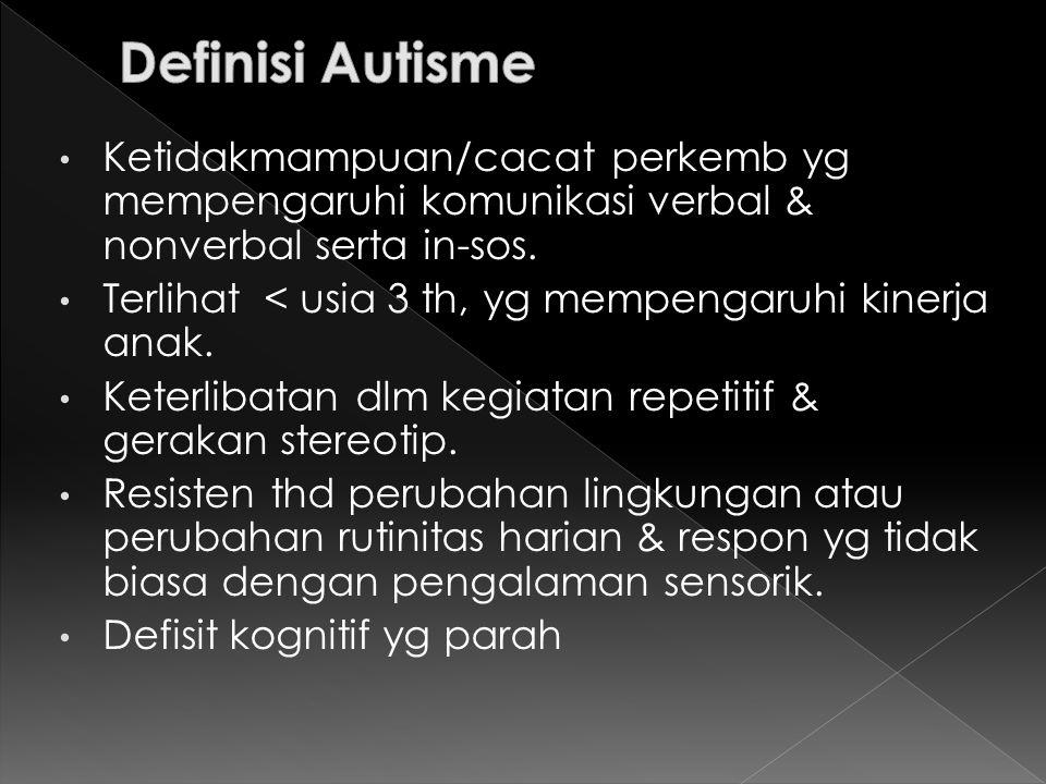 Definisi Autisme Ketidakmampuan/cacat perkemb yg mempengaruhi komunikasi verbal & nonverbal serta in-sos.
