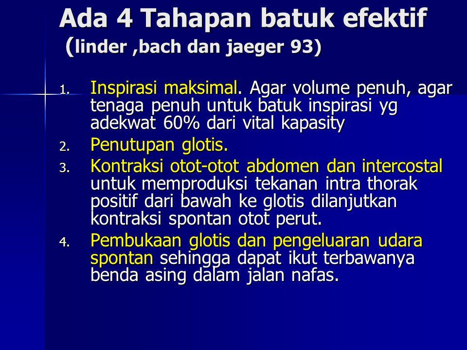 Ada 4 Tahapan batuk efektif (linder ,bach dan jaeger 93)