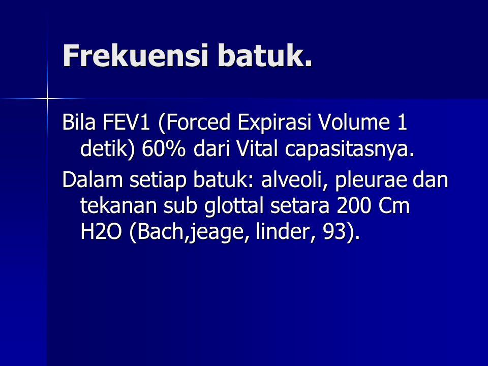 Frekuensi batuk. Bila FEV1 (Forced Expirasi Volume 1 detik) 60% dari Vital capasitasnya.