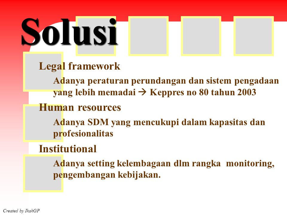 Solusi Legal framework Human resources Institutional