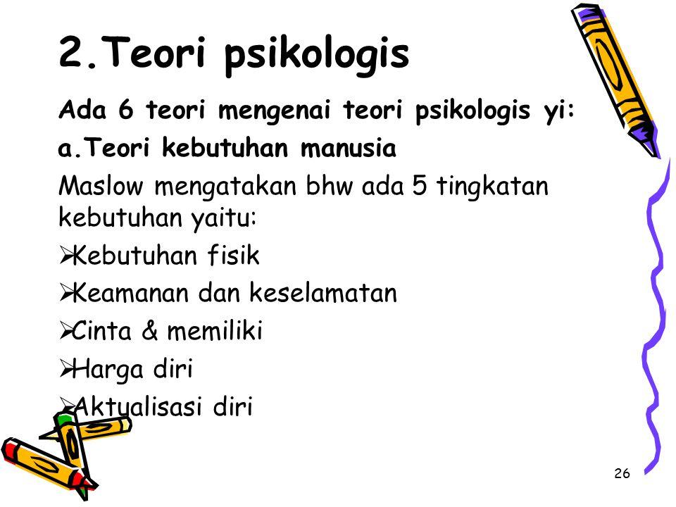 2.Teori psikologis Ada 6 teori mengenai teori psikologis yi: