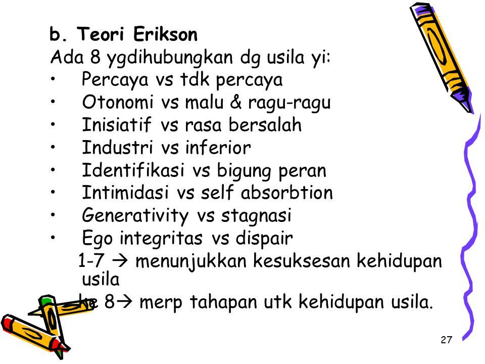 b. Teori Erikson Ada 8 ygdihubungkan dg usila yi: Percaya vs tdk percaya. Otonomi vs malu & ragu-ragu.