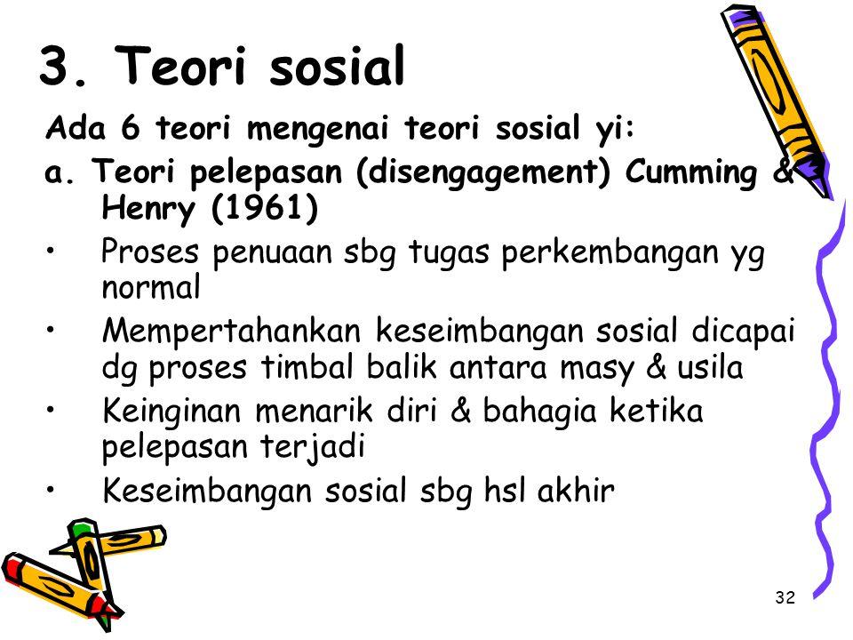 3. Teori sosial Ada 6 teori mengenai teori sosial yi: