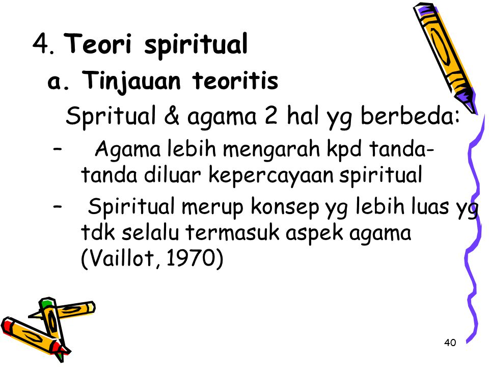 a. Tinjauan teoritis 4. Teori spiritual