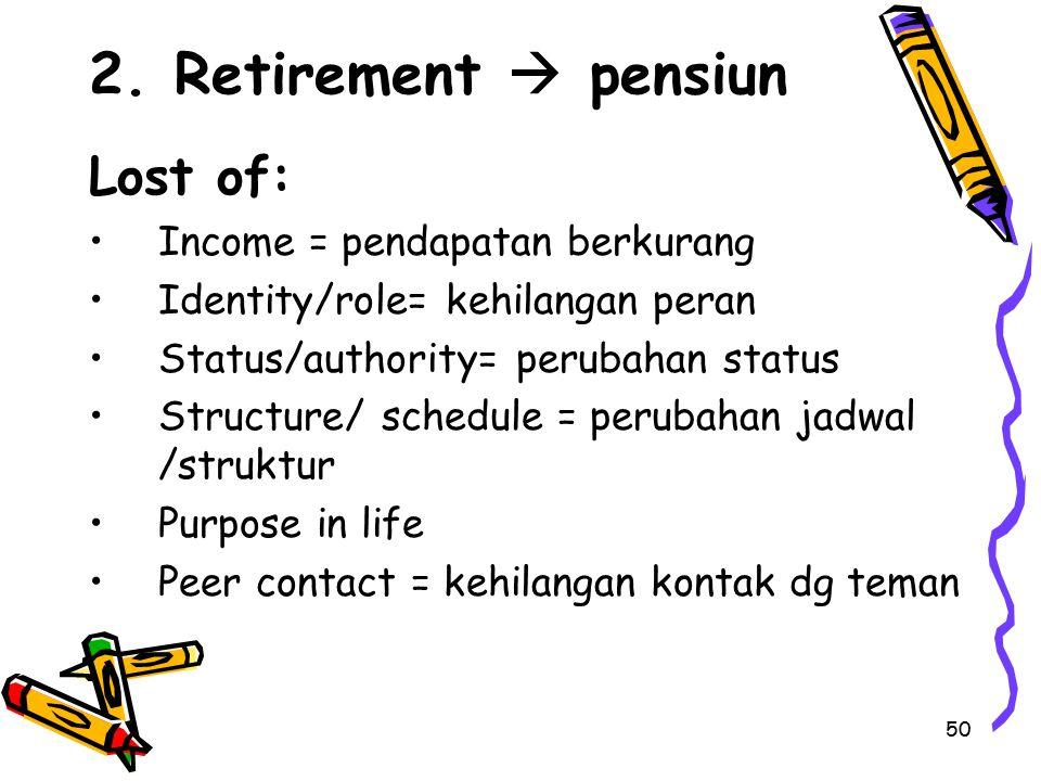 2. Retirement  pensiun Lost of: Income = pendapatan berkurang