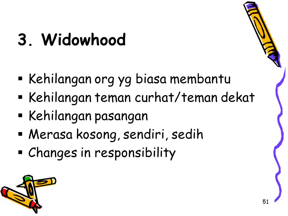 3. Widowhood Kehilangan org yg biasa membantu