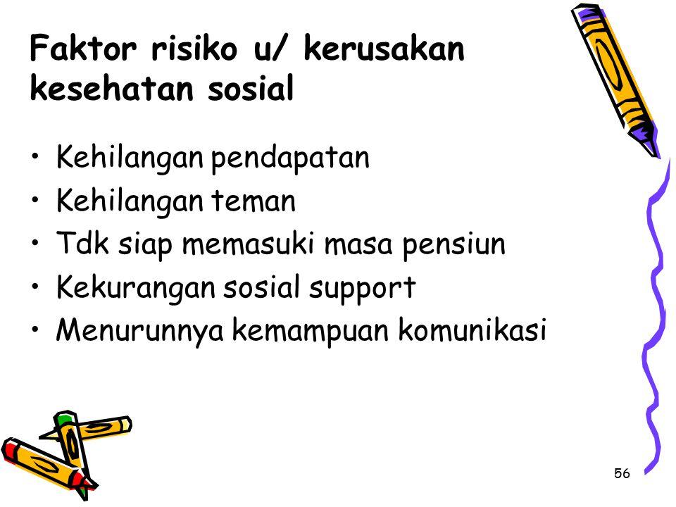Faktor risiko u/ kerusakan kesehatan sosial