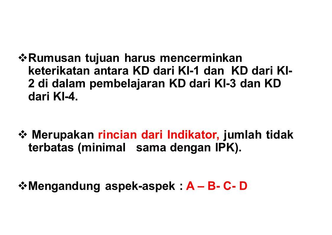 Rumusan tujuan harus mencerminkan keterikatan antara KD dari KI-1 dan KD dari KI-2 di dalam pembelajaran KD dari KI-3 dan KD dari KI-4.