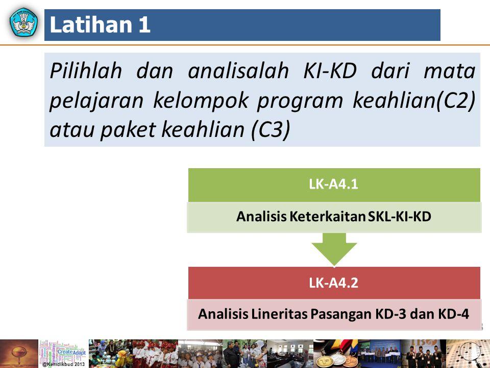 Latihan 1 Pilihlah dan analisalah KI-KD dari mata pelajaran kelompok program keahlian(C2) atau paket keahlian (C3)