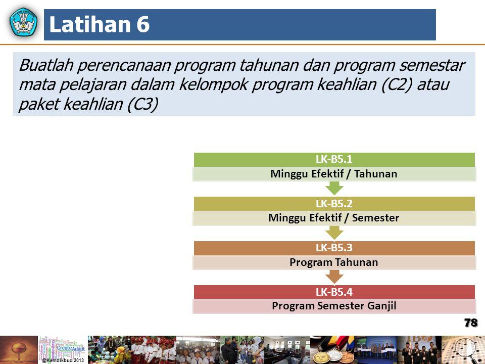 Latihan 6 Buatlah perencanaan program tahunan dan program semestar mata pelajaran dalam kelompok program keahlian (C2) atau paket keahlian (C3)