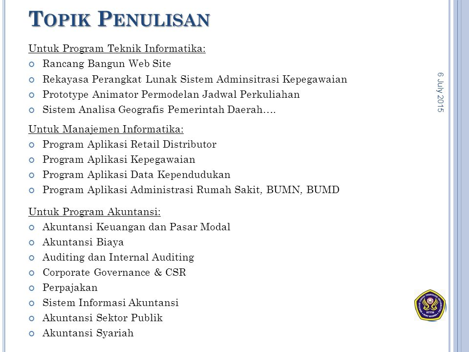 Topik Penulisan Untuk Program Teknik Informatika: