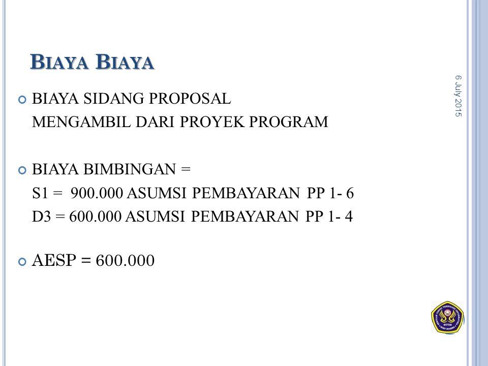 Biaya Biaya BIAYA SIDANG PROPOSAL MENGAMBIL DARI PROYEK PROGRAM