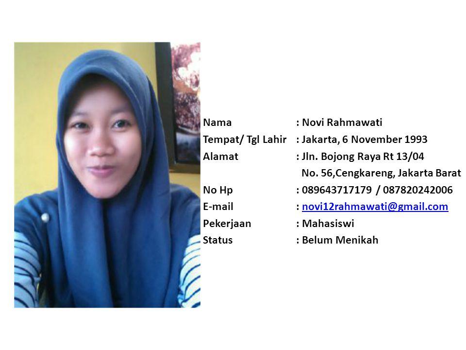 Nama : Novi Rahmawati Tempat/ Tgl Lahir : Jakarta, 6 November 1993. Alamat : Jln. Bojong Raya Rt 13/04.