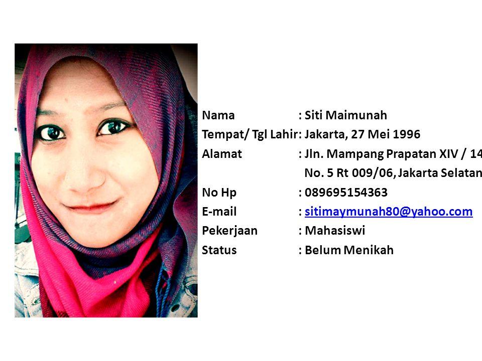 Nama : Siti Maimunah Tempat/ Tgl Lahir : Jakarta, 27 Mei 1996. Alamat : Jln. Mampang Prapatan XIV / 14.