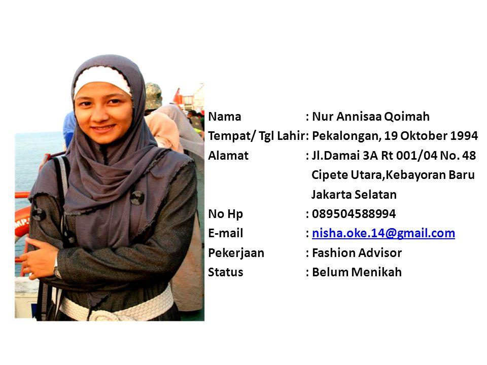 Nama : Nur Annisaa Qoimah