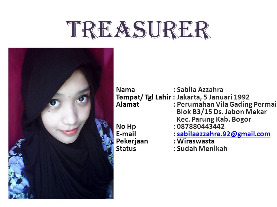 TREASURER Nama : Sabila Azzahra