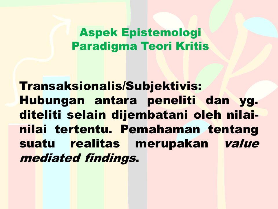 Aspek Epistemologi Paradigma Teori Kritis