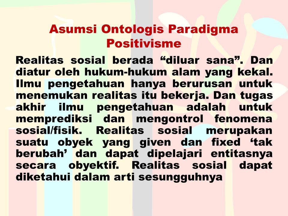Asumsi Ontologis Paradigma Positivisme
