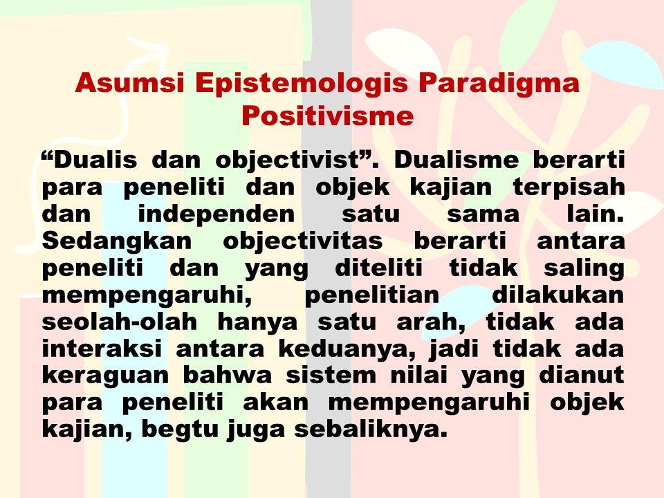 Asumsi Epistemologis Paradigma Positivisme