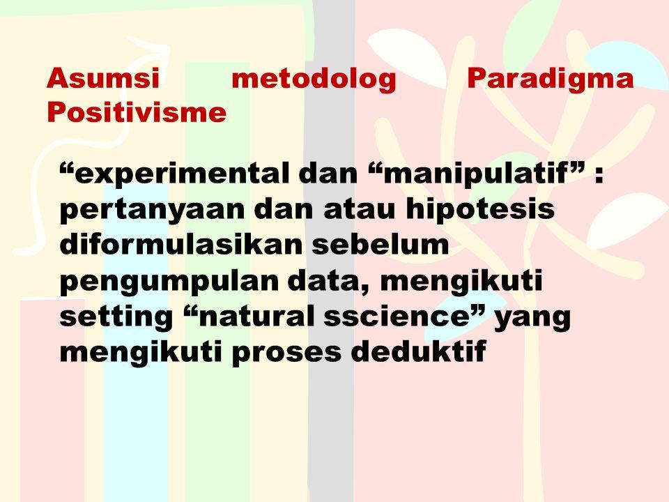 Asumsi metodolog Paradigma Positivisme