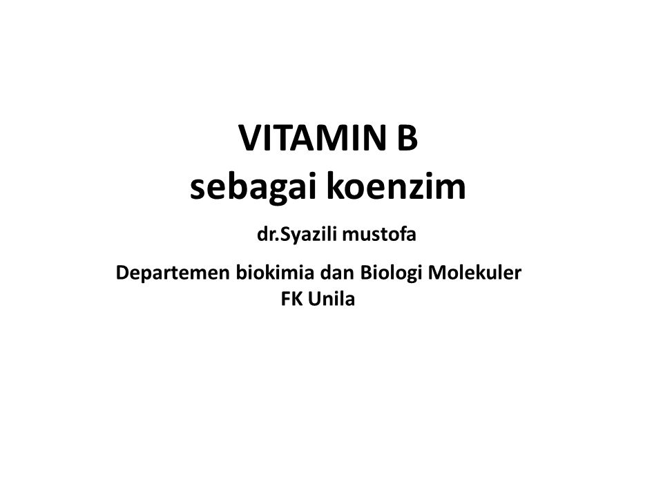 VITAMIN B sebagai koenzim