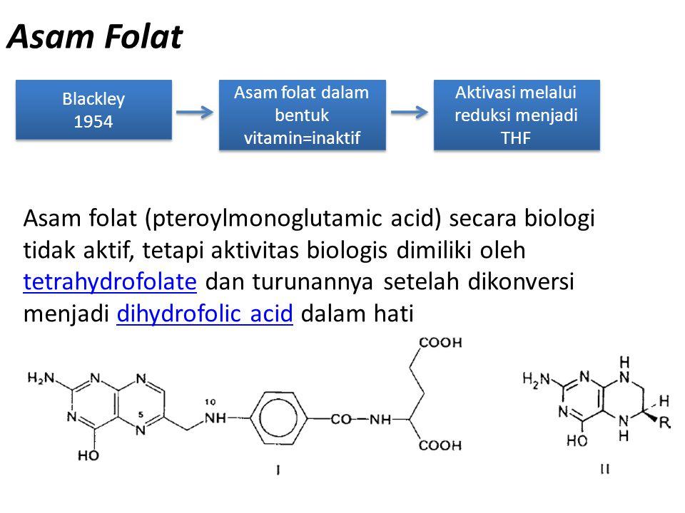 Asam Folat Blackley. 1954. Asam folat dalam bentuk vitamin=inaktif. Aktivasi melalui reduksi menjadi THF.