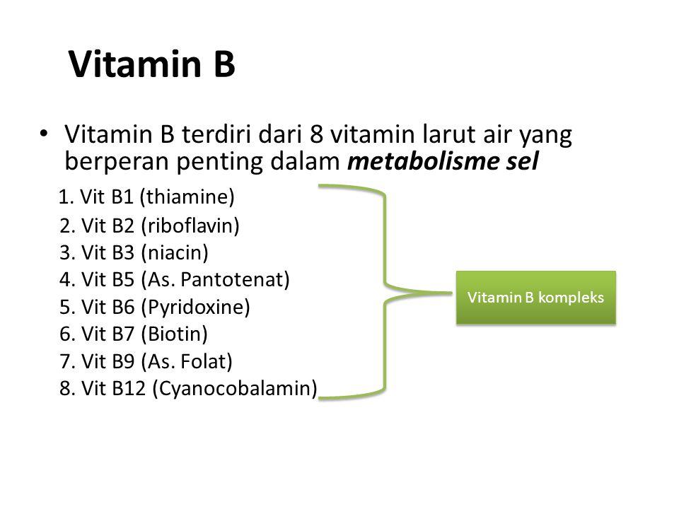 Vitamin B Vitamin B terdiri dari 8 vitamin larut air yang berperan penting dalam metabolisme sel. 1. Vit B1 (thiamine)