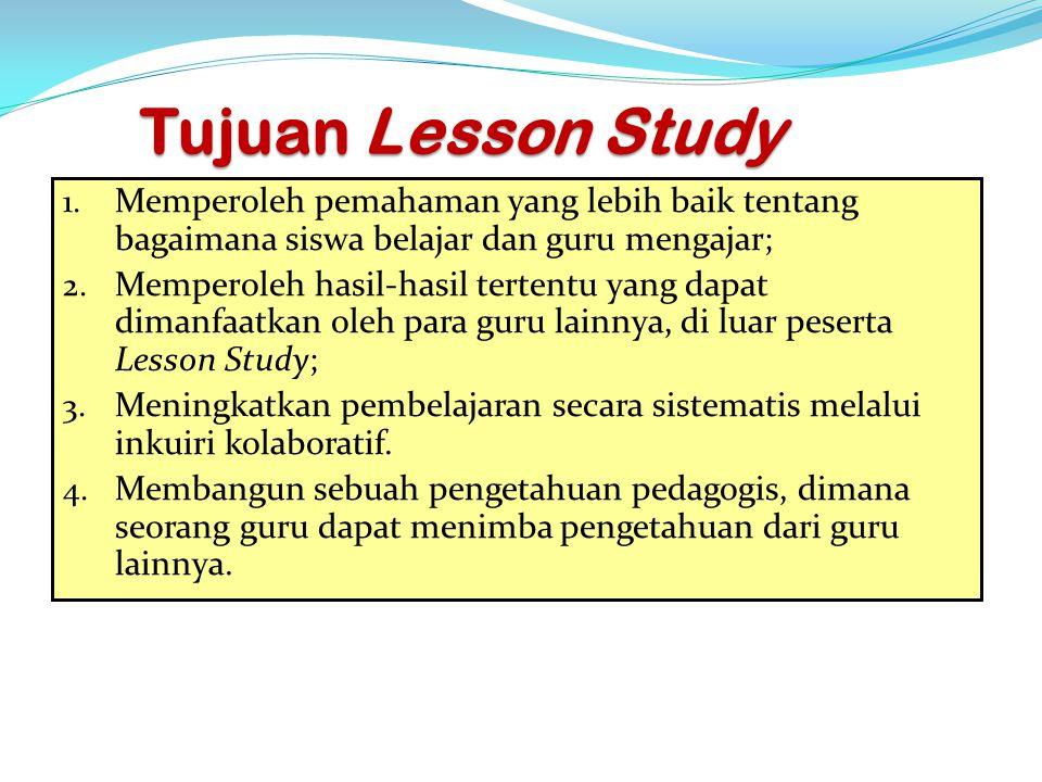 Tujuan Lesson Study Memperoleh pemahaman yang lebih baik tentang bagaimana siswa belajar dan guru mengajar;