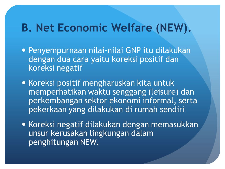 B. Net Economic Welfare (NEW).