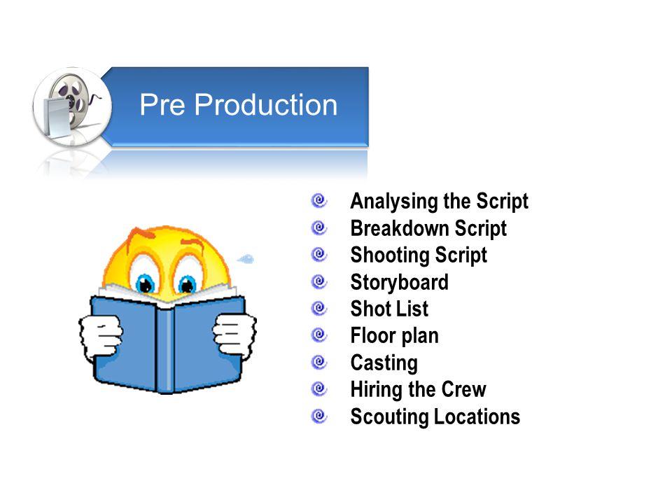 Pre Production Analysing the Script Breakdown Script Shooting Script