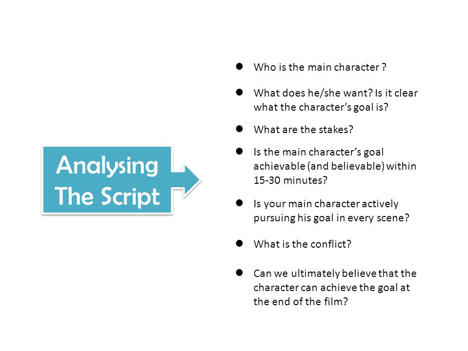 Analysing The Script Who is the main character