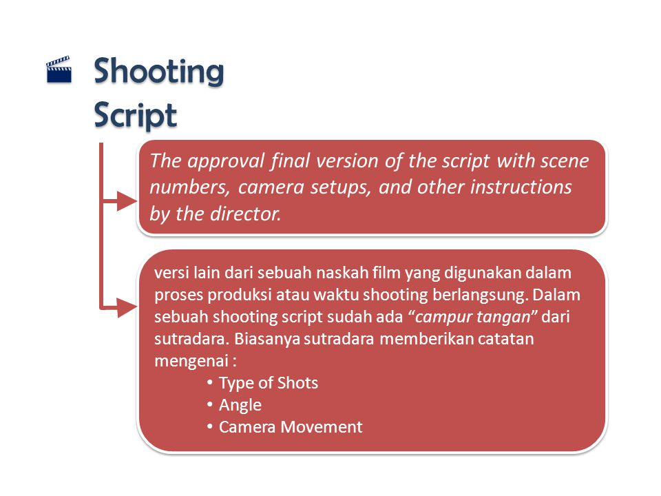 Shooting Script The approval final version of the script with scene numbers, camera setups, and other instructions by the director.