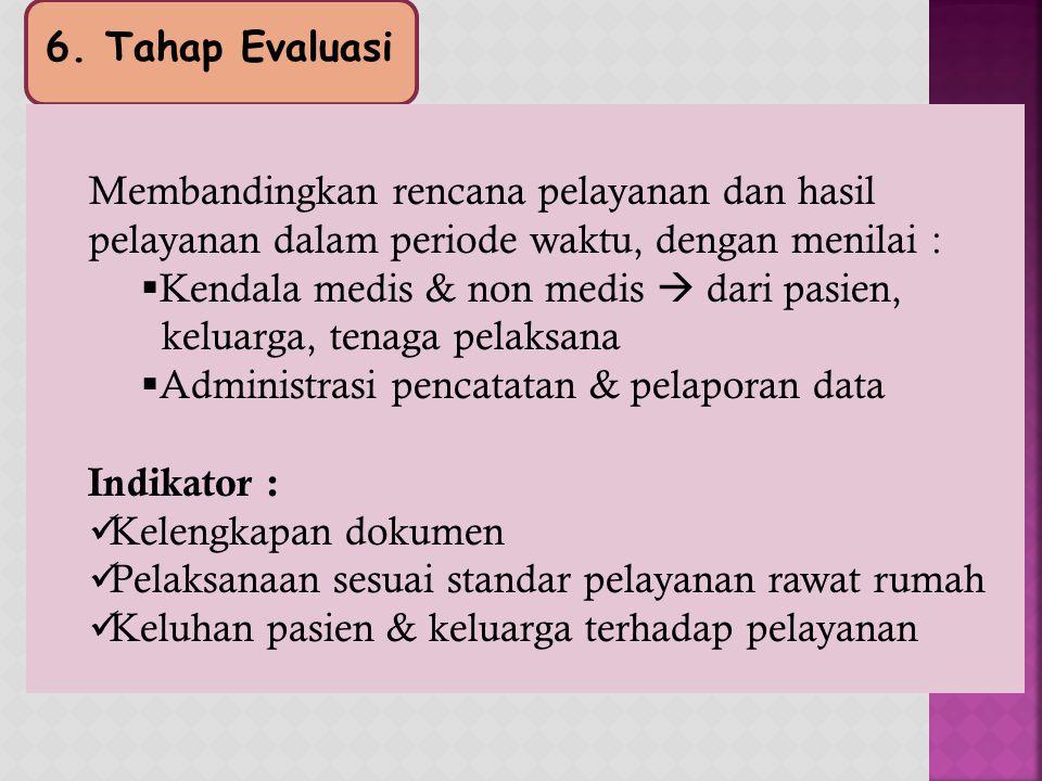 6. Tahap Evaluasi Membandingkan rencana pelayanan dan hasil pelayanan dalam periode waktu, dengan menilai :