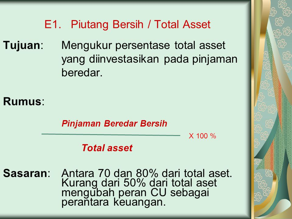 E1. Piutang Bersih / Total Asset