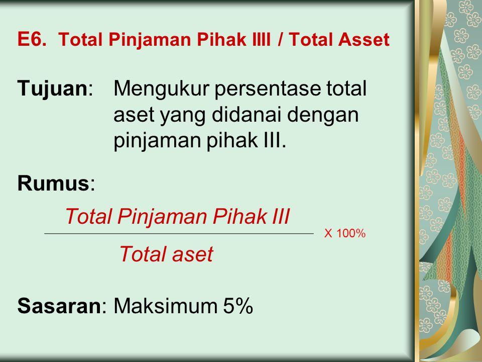 E6. Total Pinjaman Pihak IIII / Total Asset