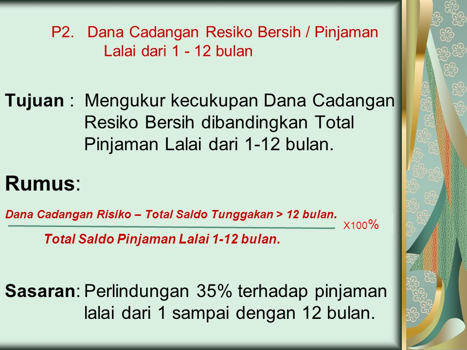 P2. Dana Cadangan Resiko Bersih / Pinjaman Lalai dari 1 - 12 bulan