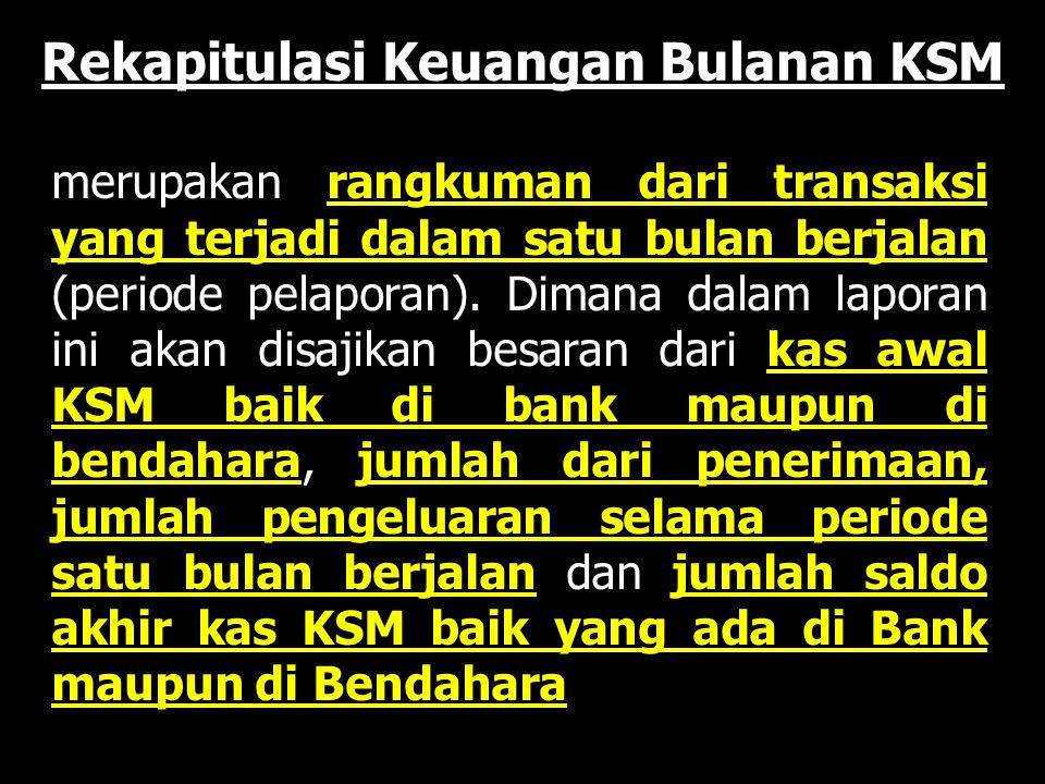 Rekapitulasi Keuangan Bulanan KSM