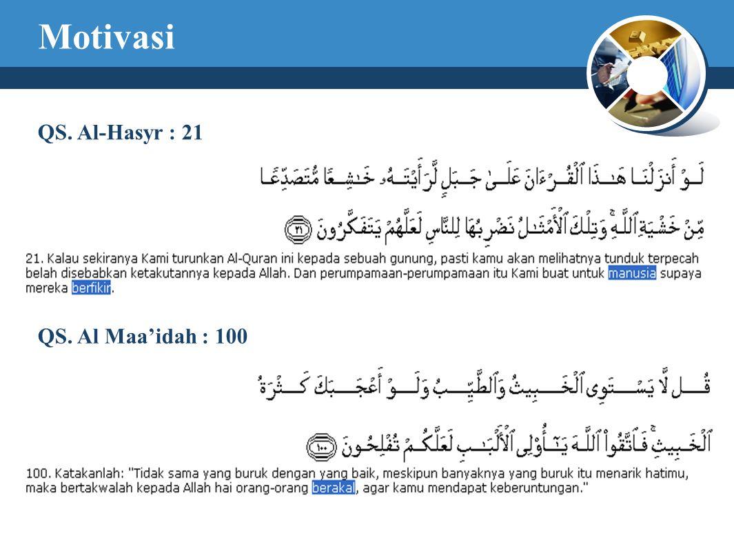 Motivasi QS. Al-Hasyr : 21 QS. Al Maa'idah : 100
