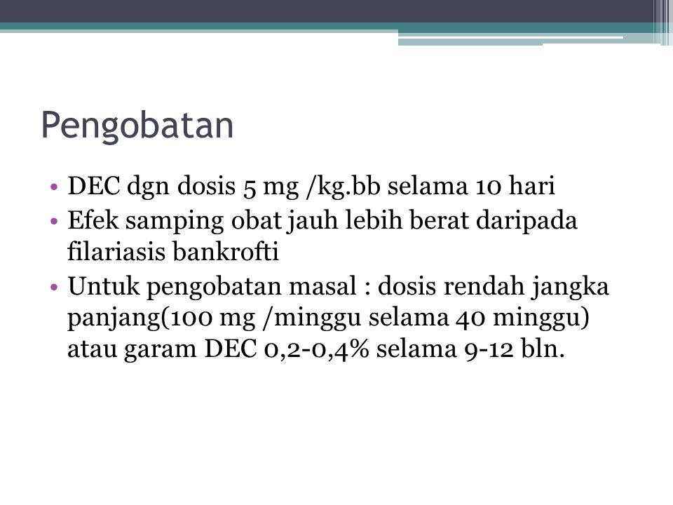 Pengobatan DEC dgn dosis 5 mg /kg.bb selama 10 hari